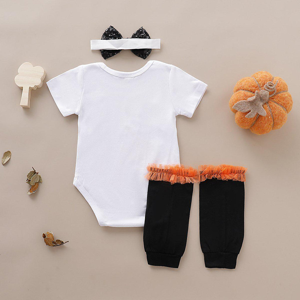 Baby Girl Halloween Romper & Headband & Tights - PrettyKid