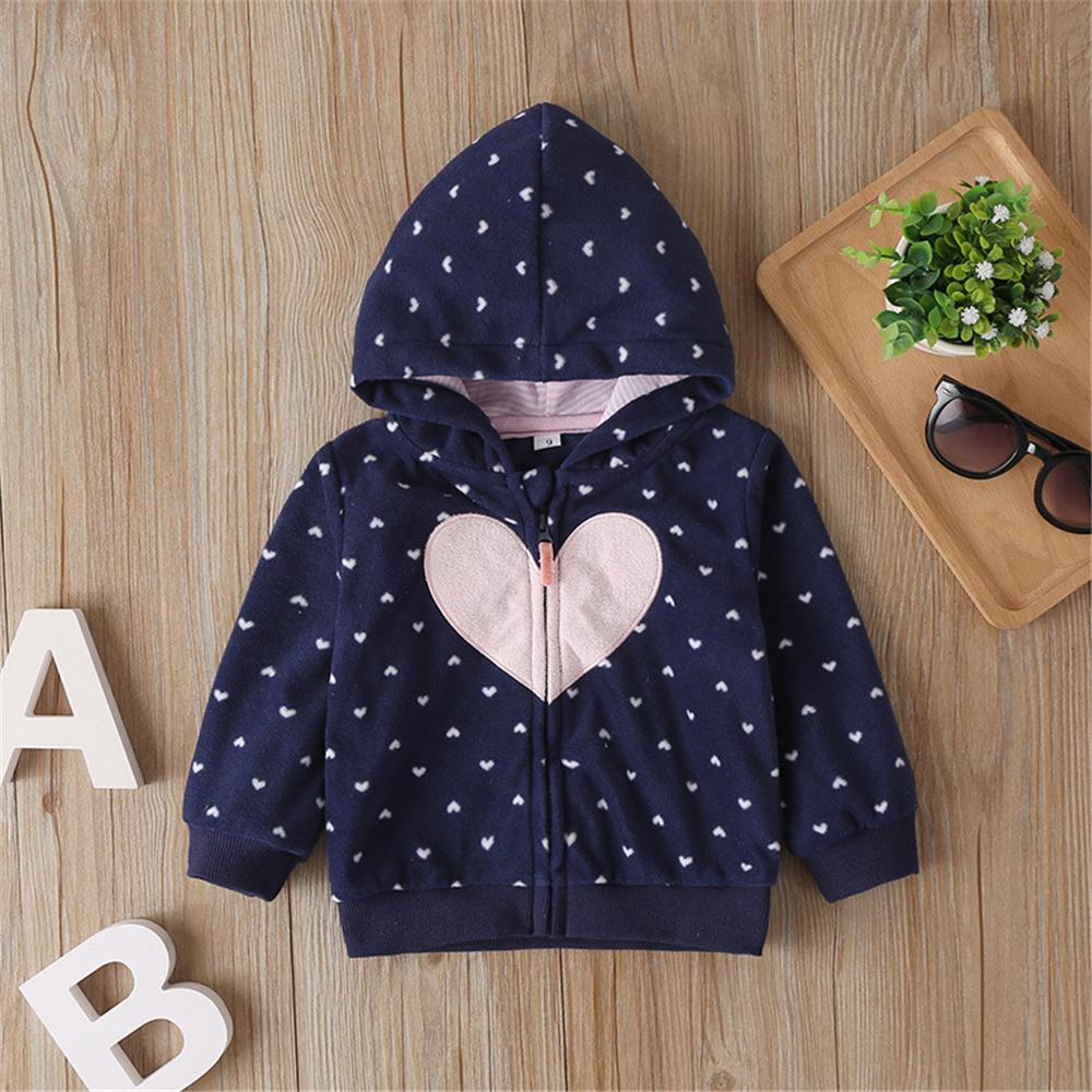Baby Girls Heart Long Sleeve Zipper Hooded Jackets Baby Accessories Wholesalers - PrettyKid