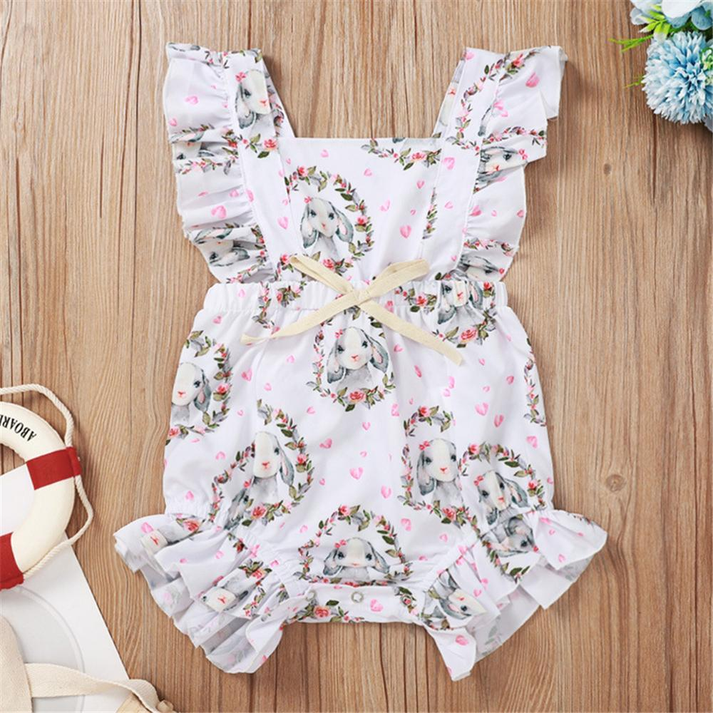 Baby Girls Heart Rabbit Printed Sleeveless Romper Baby Wholesale Baby Rompers - PrettyKid