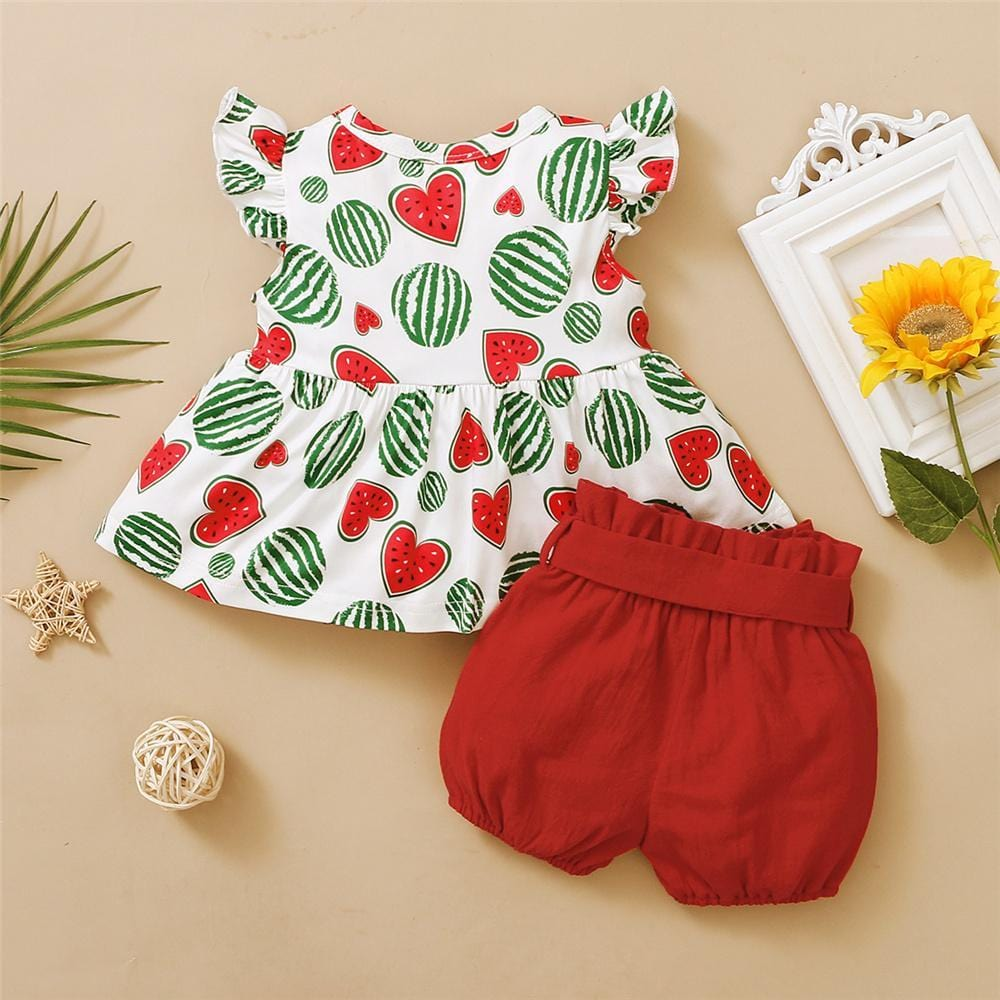 Girls Heart Shape Fruit Printed Summer Top & Solid Shorts Bulk Childrens Clothing Suppliers