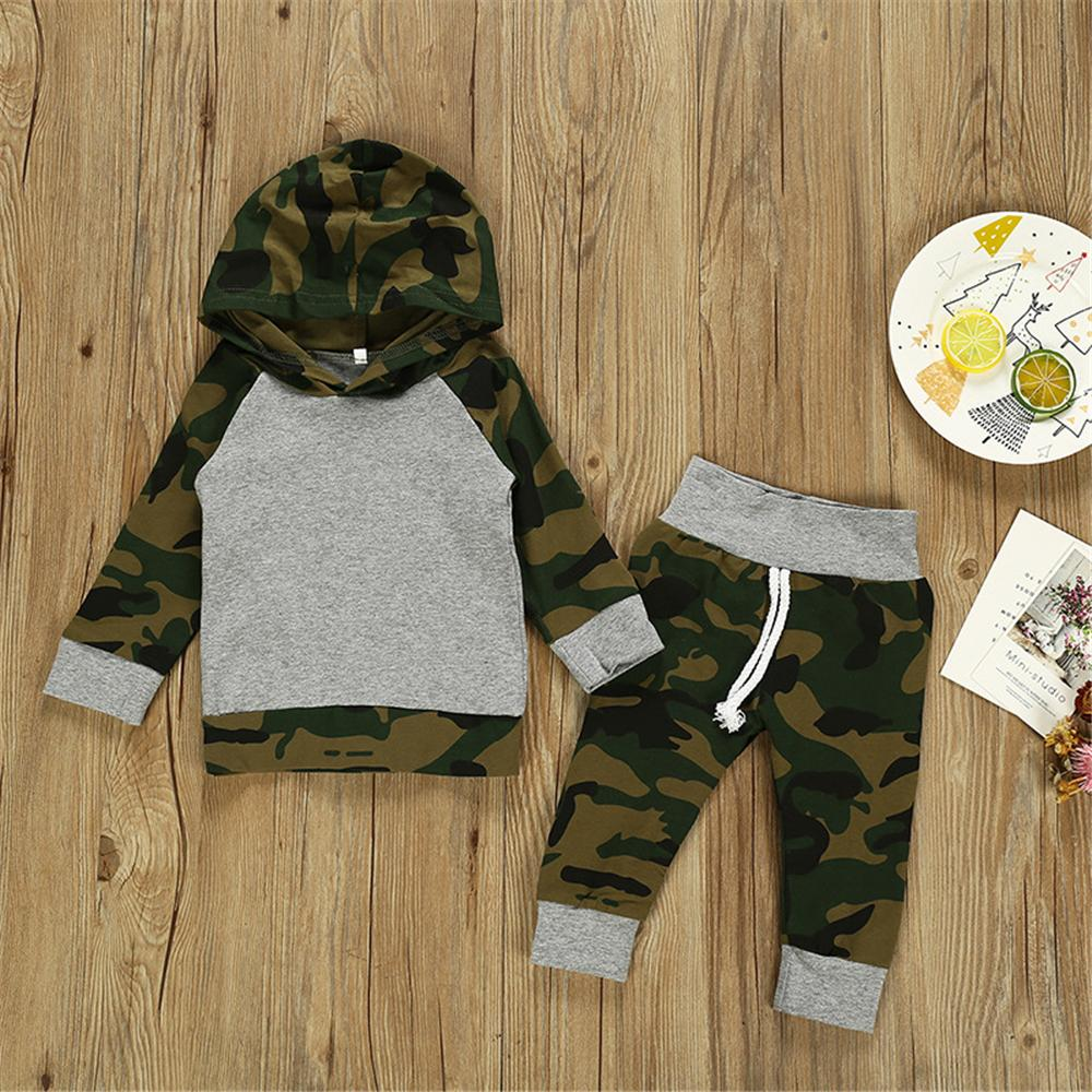 Baby Boys Hooded Camo Long Sleeve Top & Pants Wholesale Baby Store - PrettyKid