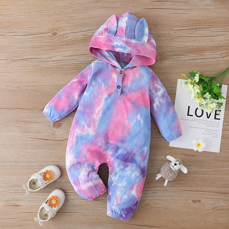 Baby Girls Hooded Cute Long Sleeve Tie-dye Romper Baby Clothing In Bulk - PrettyKid