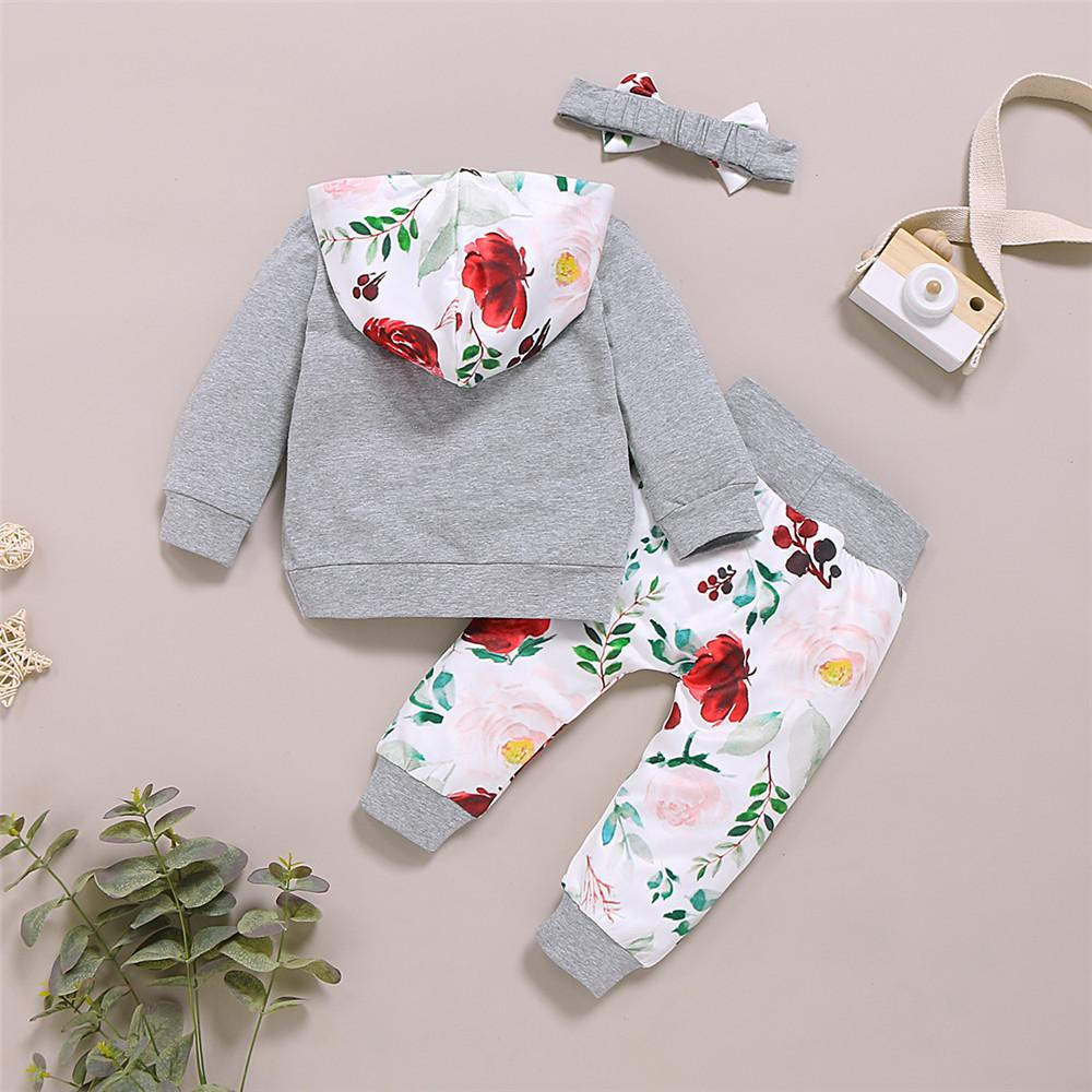 Baby Girls Hooded Floral Printed Jumper & Pants