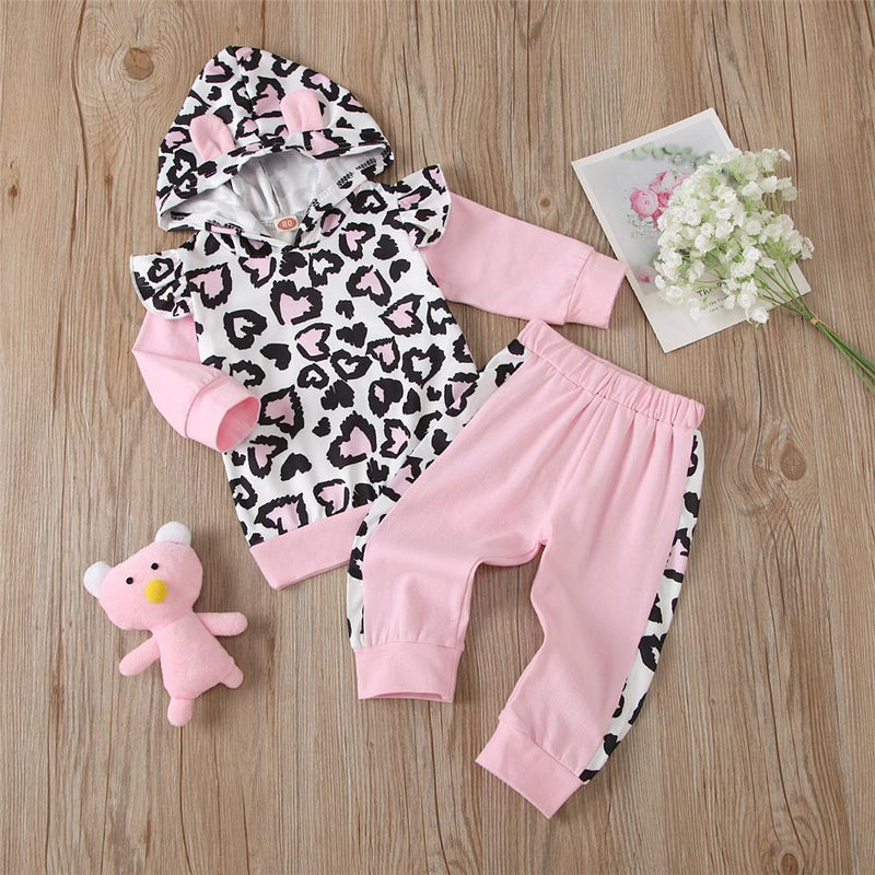 Girls Hooded Leopard Long Sleeve Top & Pants Toddler Girls Wholesale