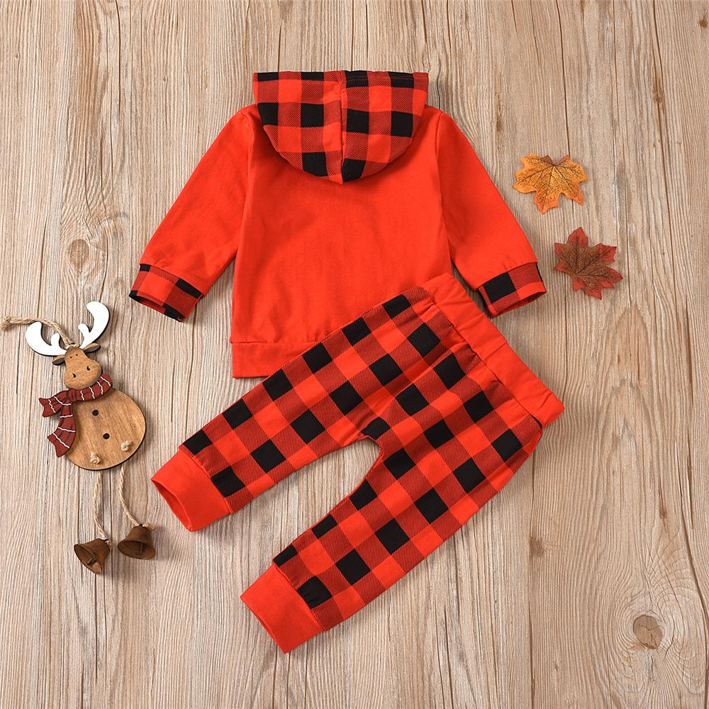 Baby Boys Hooded Long-Sleeve Plaid T-Shirt & Trousers Wholesale Clothing Baby