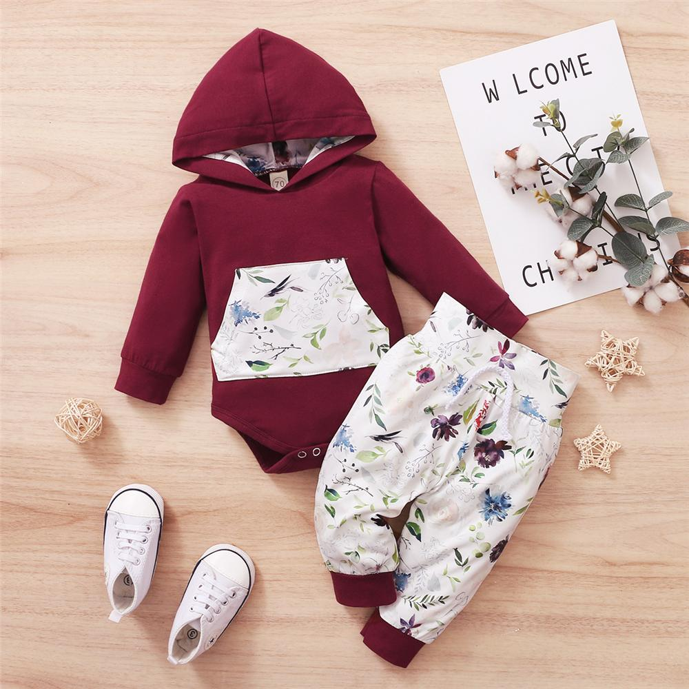 Baby Hooded Long Sleeve Hooded Floral Romper & Trousers Baby Clothes Wholesale Suppliers - PrettyKid