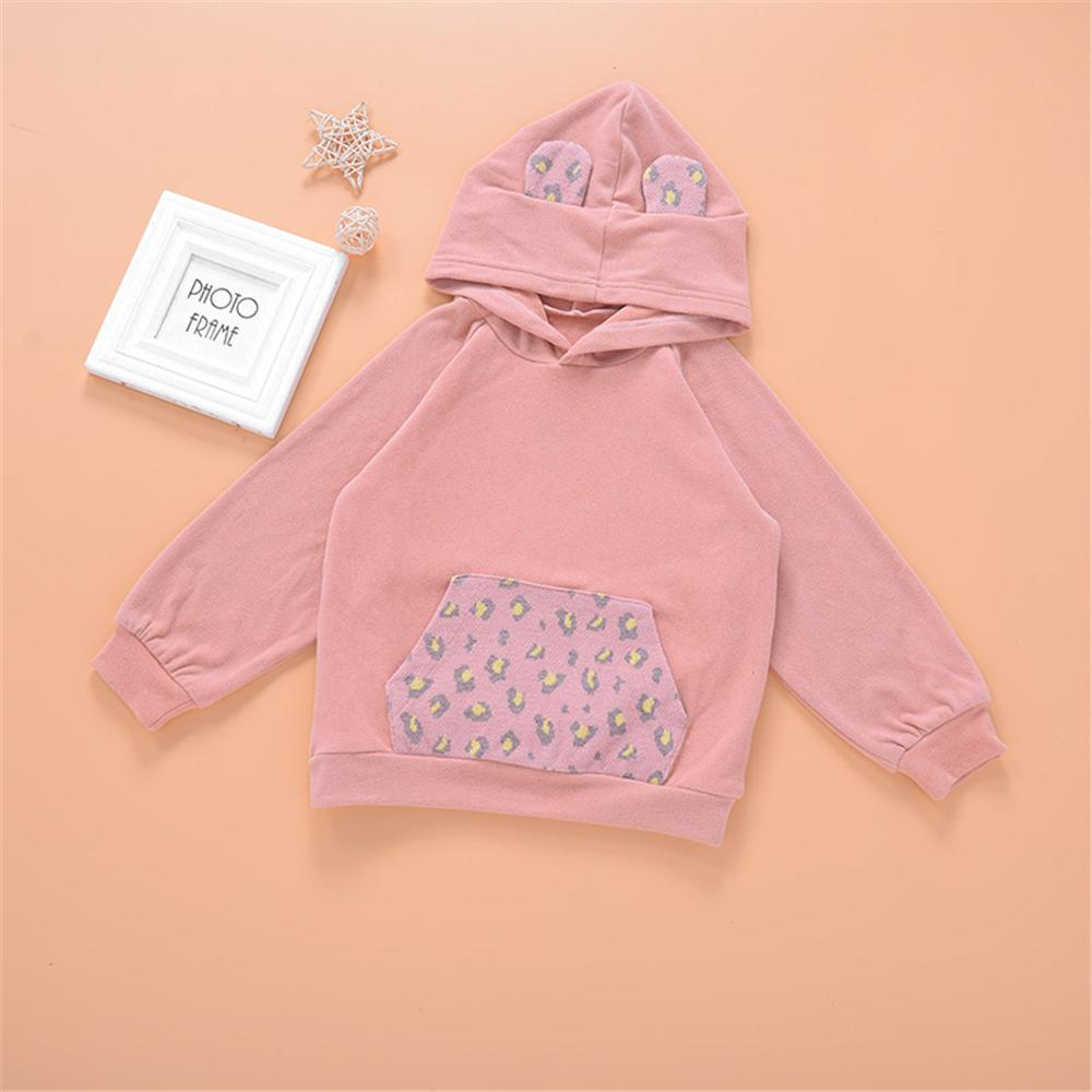Girls Hooded Long Sleeve Leopard Cute Top Girl T Shirts Wholesale - PrettyKid