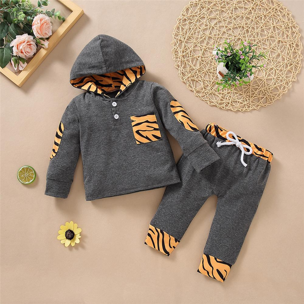 Baby Hooded Long Sleeve Leopard Printed Top & Pants Wholesale Baby Clothes Suppliers - PrettyKid