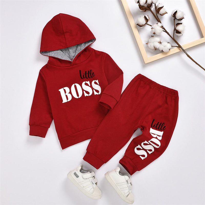 Boys Hooded Long Sleeve Little Boss Printed Jumper & Pants