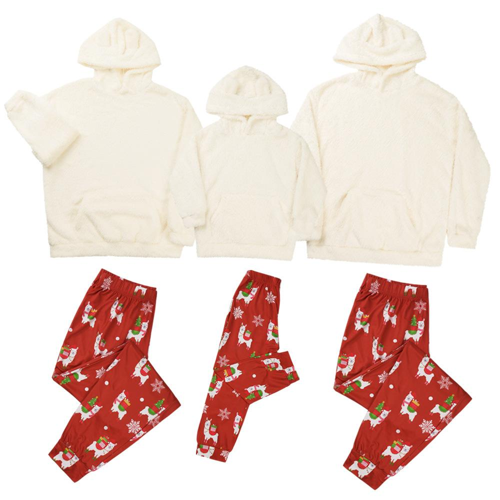 Parent-Child Hooded Top & Cartoon Pants Mommy And Me Outfits Wholesale