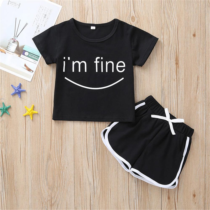 Girls I Am Fine Printed Short Sleeve Top & Shorts Girl Boutique clothes Wholesale