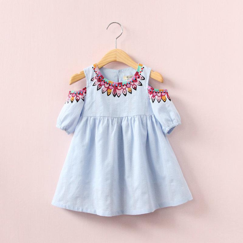 Fashionable Cartoon Off Shoulder Pure Cotton Dress