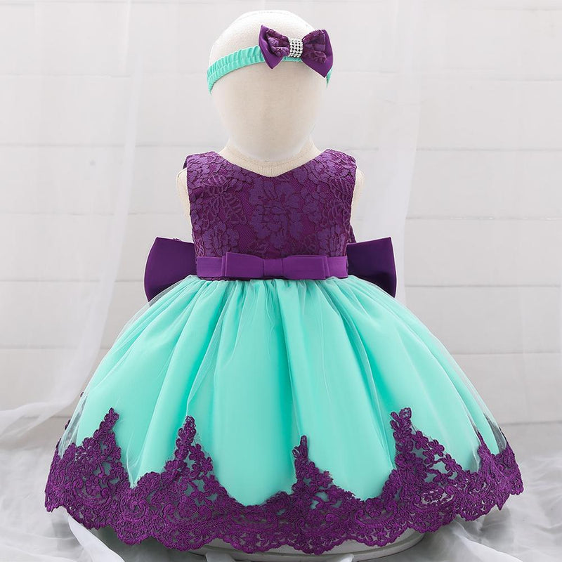 Baby Girl Princess Bow Lace Dress With Hair Band