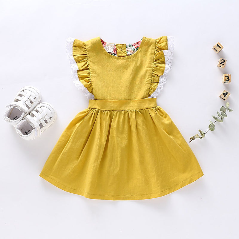 Toddler Girls Solid Color Lace Fly Sleeve Dress