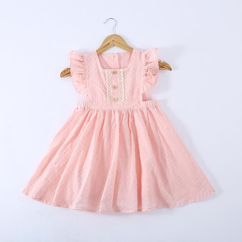 Girls Pure Cotton Pleated Skirt Solid Color Fly Sleeve Princess Dress - PrettyKid