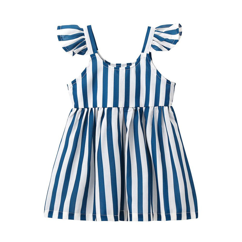 Sweet Stripes Flutter Sleeves Dress for Baby Girl