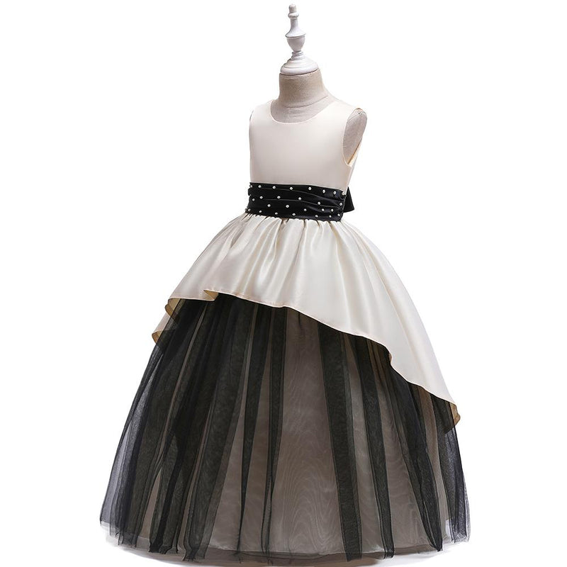 Girl Satin Beaded Tutu Princess Long Catwalk Dress