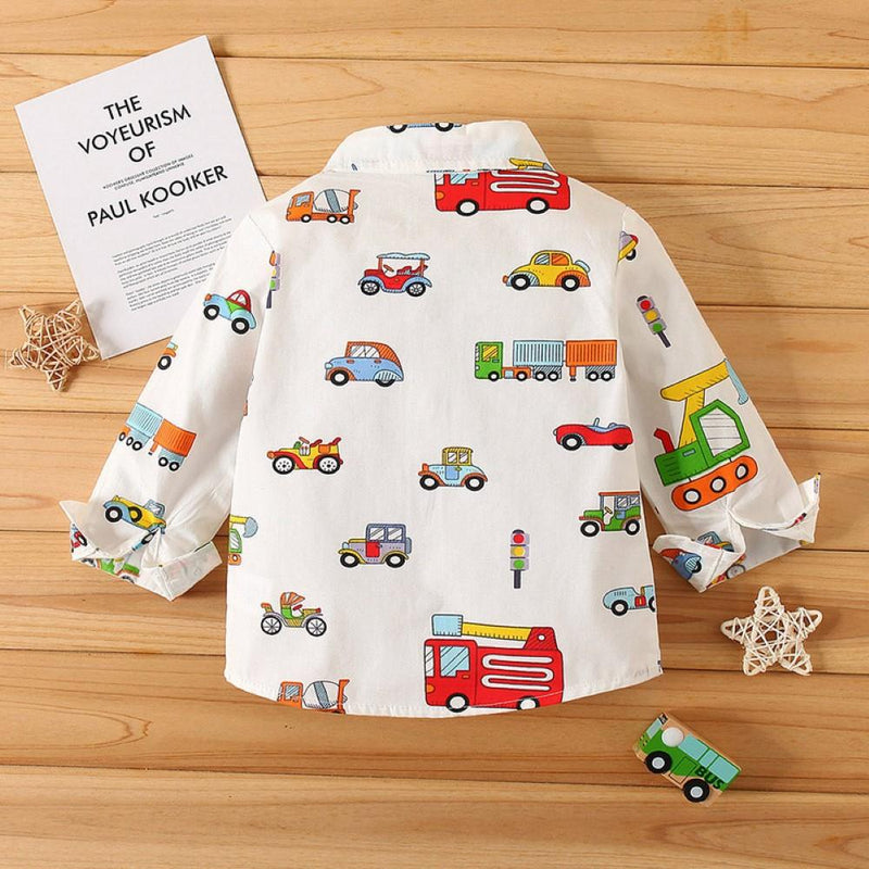 Boys Car Carrtoon Pattern Lapel Shirt Wholesale Boys Clothing - PrettyKid