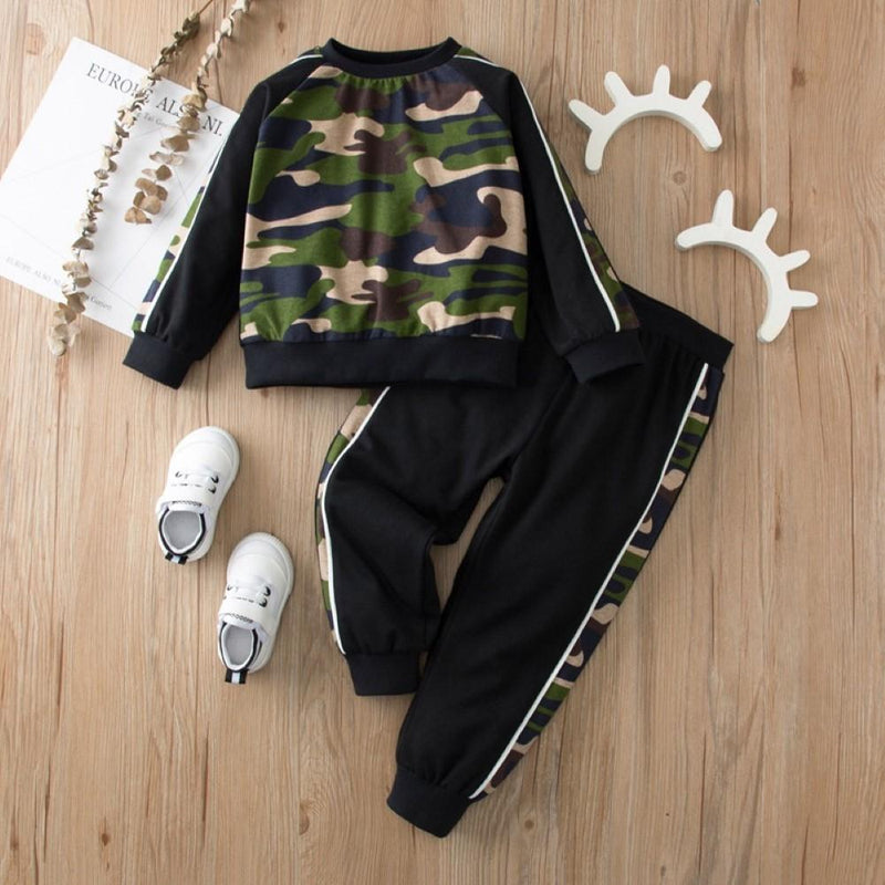 Kid Unisex Camouflage Long Sleeve Suits Boys Wholesale Clothes