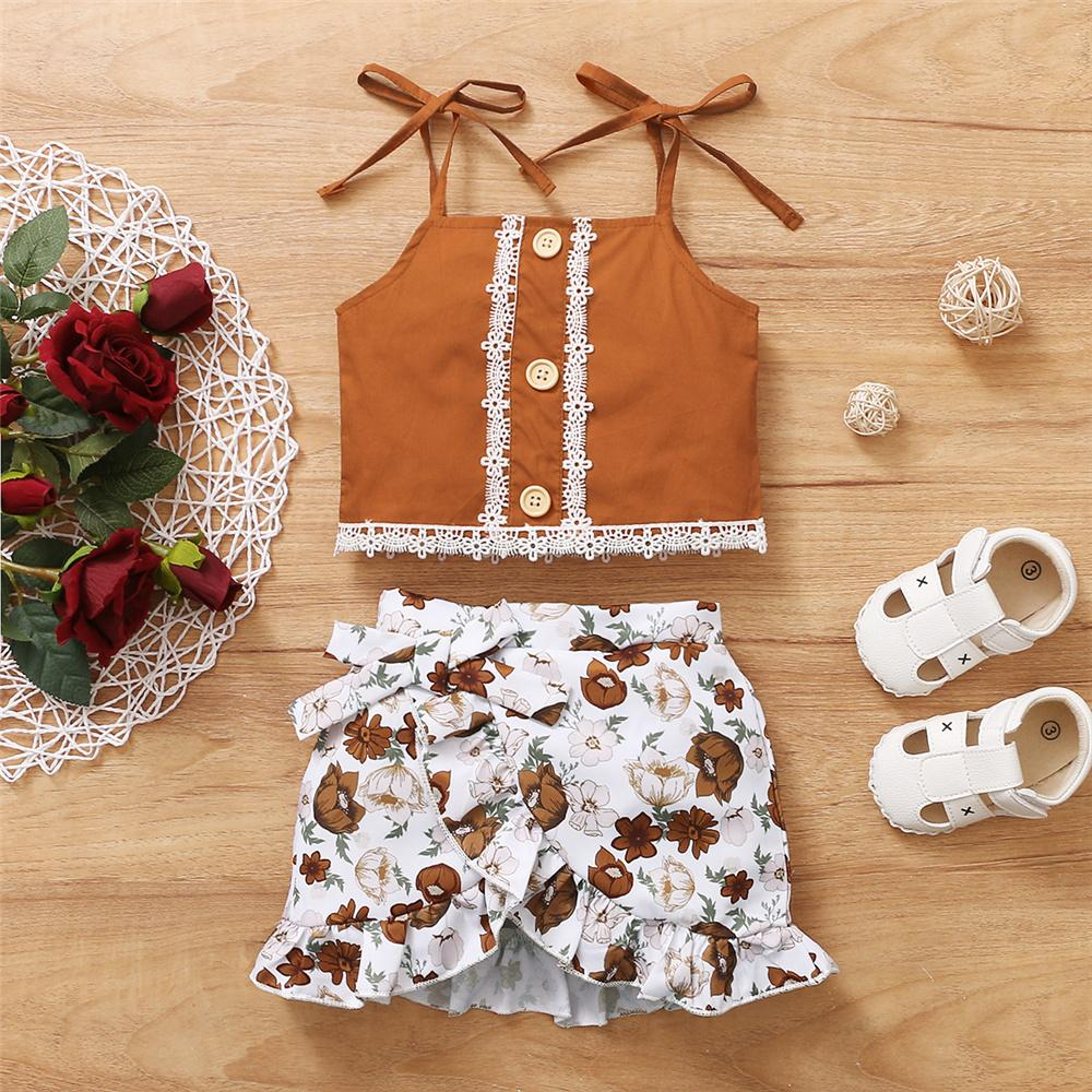 Toddler Girls Lace Button Sling Top & Floral Skirt Supplierstraditional baby clothes wholesale