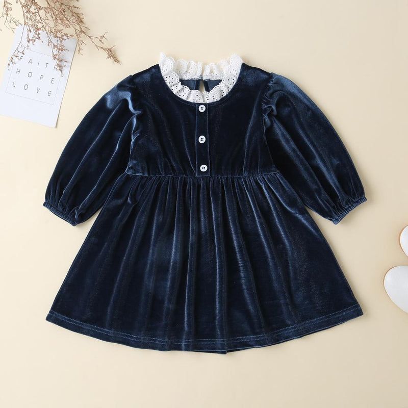 Baby Girls Lace Button Solid Long Sleeve Dresses