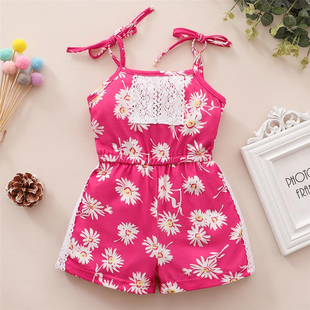 Toddler Girls Lace Flower Printed Suspender Jumpsuit Baby children's cotton dresses wholesale
