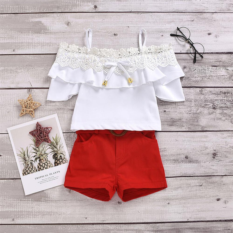 Girls Lace Short Sleeve Sling Top & Red Shorts Wholesale Girl Boutique clothes