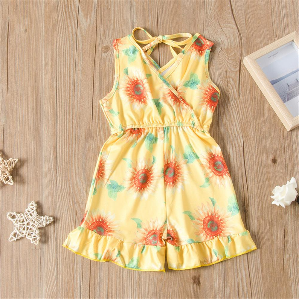 Girls Lace Up Floral Printed Sleeveless Jumpsuit Bulk Childrens clothing