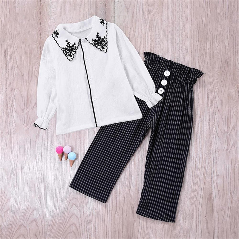 Toddler Girls Lapel Button Long Sleeve Blouse & Stripe Bulk Baby Girl Clothes