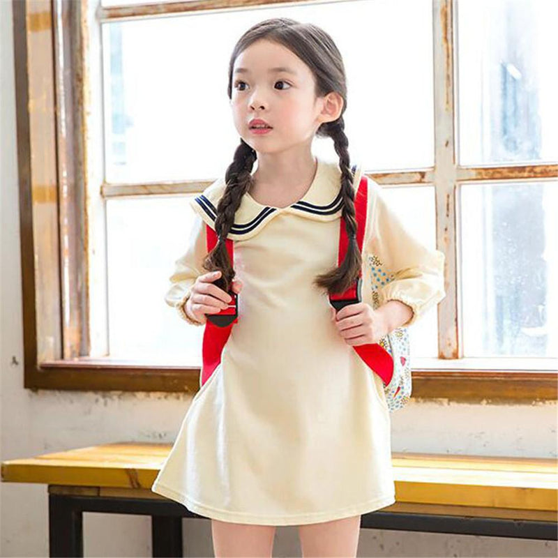 Girls Lapel Long Sleeve Poket Dress