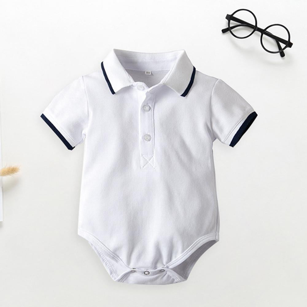 Baby Boys Lapel Short Sleeve Button Polo Romper Baby clothing vendors - PrettyKid