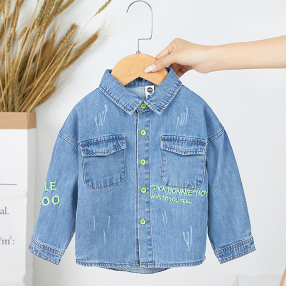 Boys Lapel Solid Denim Jackets Baby Boys Clothes Wholesale - PrettyKid
