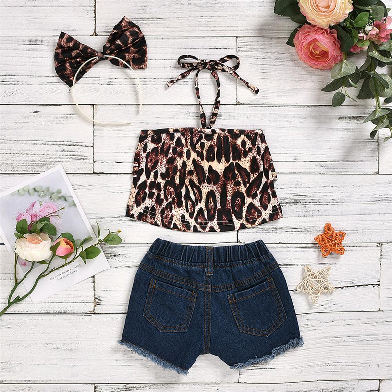 Girls Layered Leopard Tank Top & Sequin Denim Shorts Baby clothes Cheap Wholesale