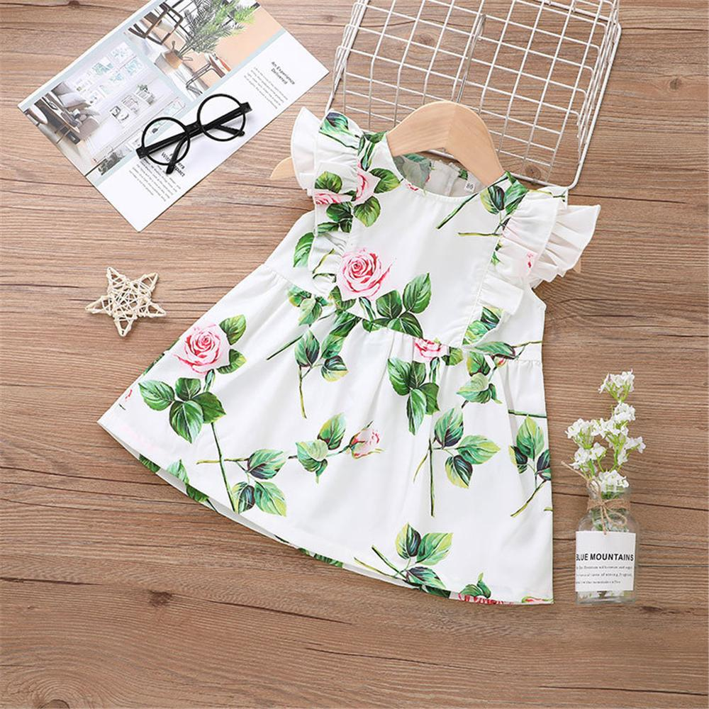 Baby Girls Leaves Flower Printed Flying Sleeve Dress children's wholesale clothing vendors - PrettyKid