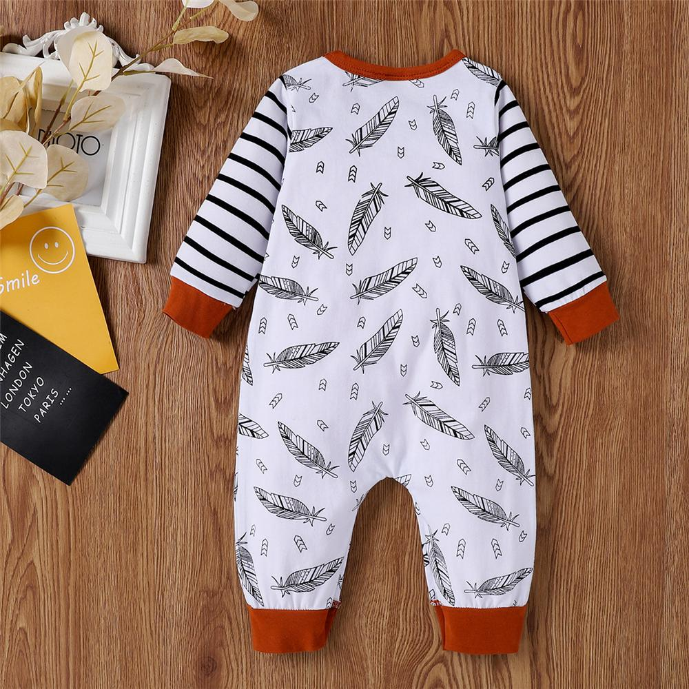 Baby Leaves Printed Long Sleeve Romper Baby Clothes Cheap Wholesale - PrettyKid