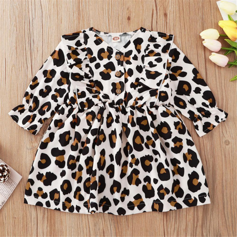 Baby Girls Leopard Button Long Sleeve Dress Wholesale Baby Outfits