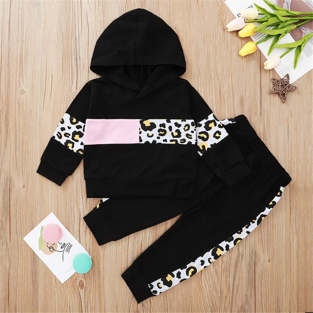 Baby Girls Leopard Color Block Hooded Long Sleeve Baby Girl Tracksuits - PrettyKid