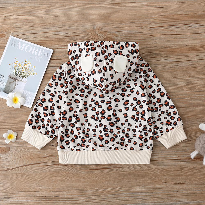 Baby Girls Leopard Hooded Zipper Long Sleeve Jacket Baby Clothes Vendors - PrettyKid