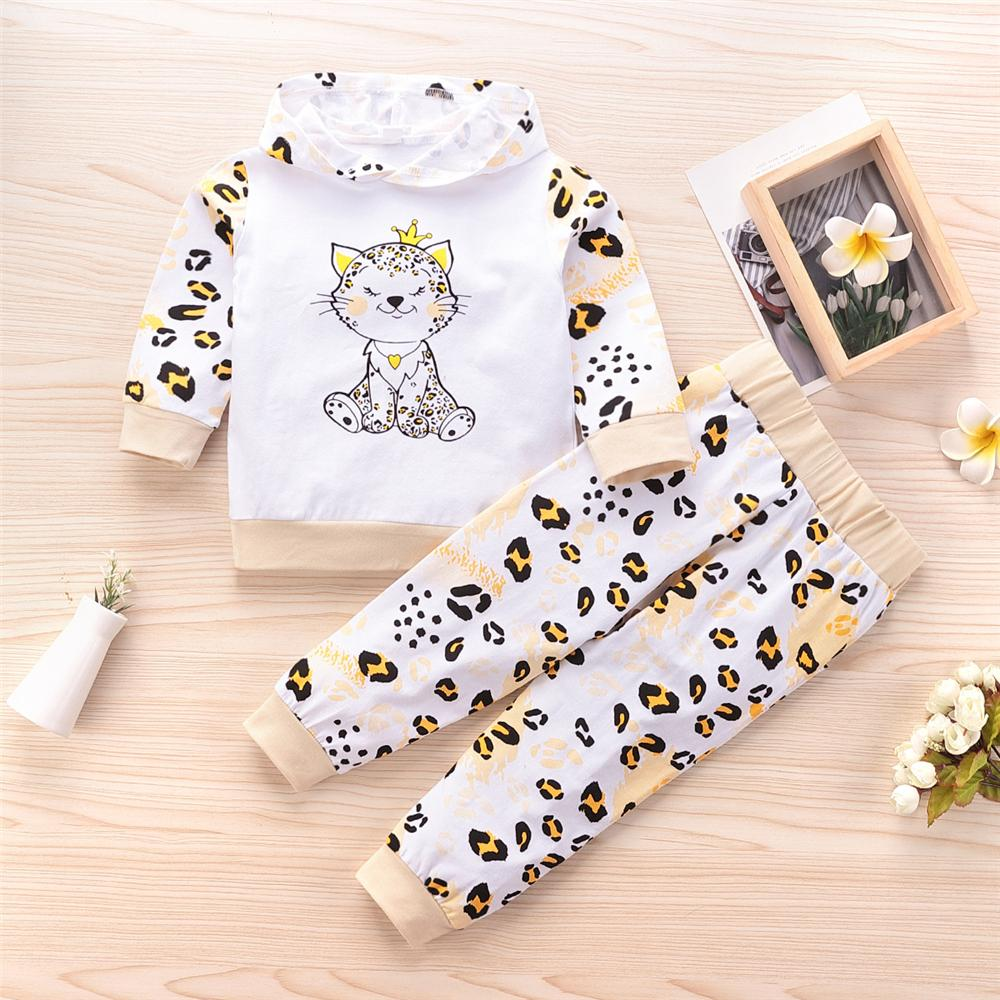Girls Leopard Kitty Printed Hooded Tops & Bottoms Kids Fashion Wholesale - PrettyKid