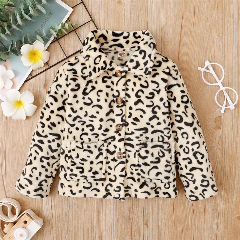 Girls Leopard Pocket Button Long Sleeve Jacket Girls Clothing Wholesale - PrettyKid