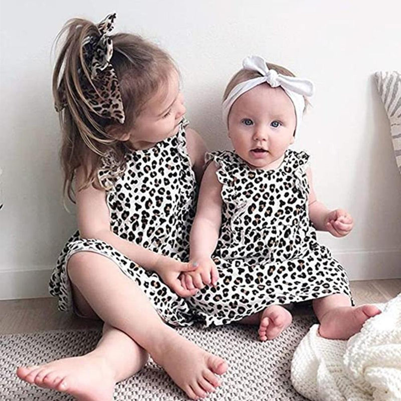 Girls Leopard Printed Sleeveless Dress & Headband Wholesale Baby Girl clothing