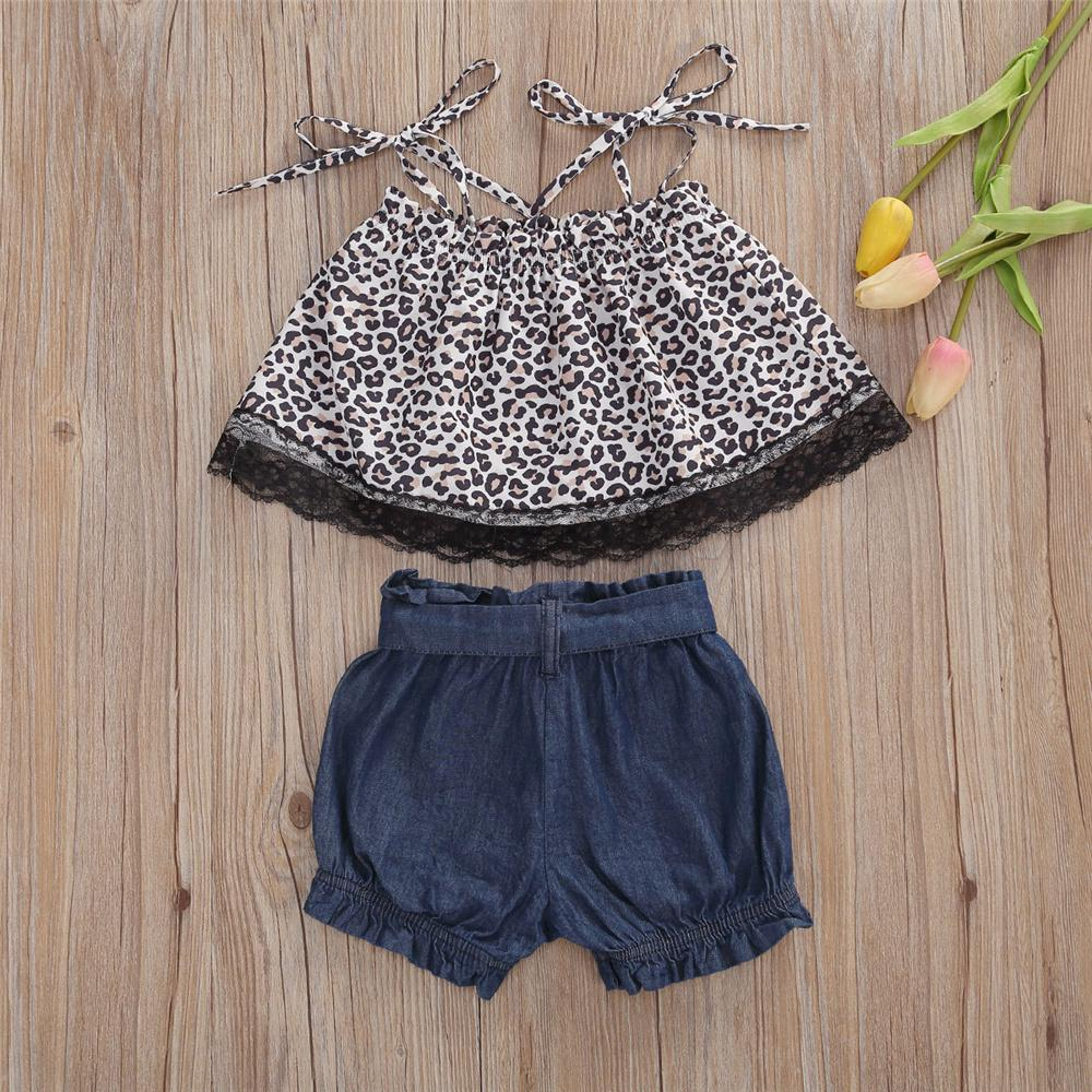 Baby Girls Leopard Printed Sling Top & Shorts Wholesale Baby clothing vendors - PrettyKid