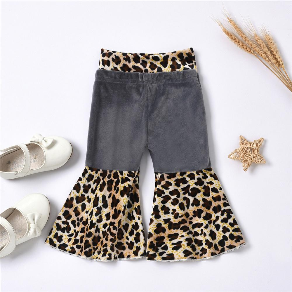 Baby Girls Leopard Printed Wide Leg Flared Trousers Wholesale Baby clothing - PrettyKid