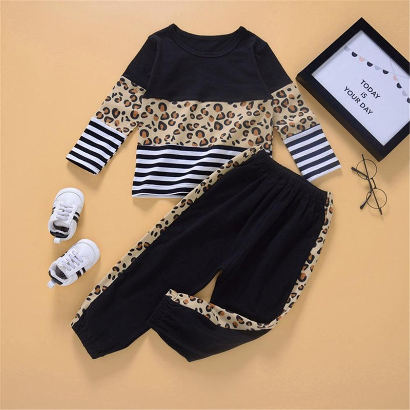 Baby Girls Leopard Striped Splicing Long Sleeve Top & Pants Girl Wholesale