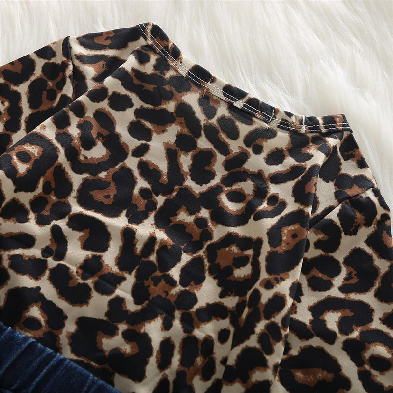 Toddler Girls Leopard Top & Ripped Jeans Wholesale Boutique Girl Clothing