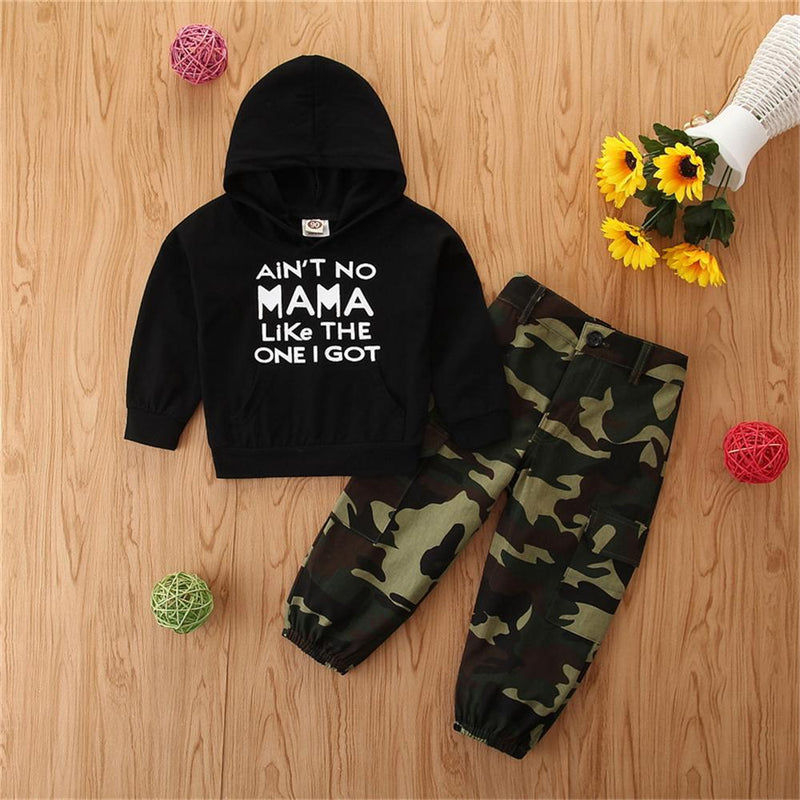 Boys Letter Camo Printed Long Sleeve Hooded Tracksuit Kids Clothing Suppliers - PrettyKid