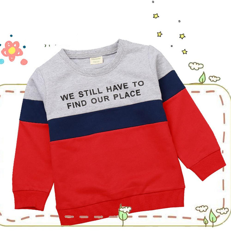 Boys Letter Color Block Long Sleeve Casual T-shirt Boys Wholesale Clothes