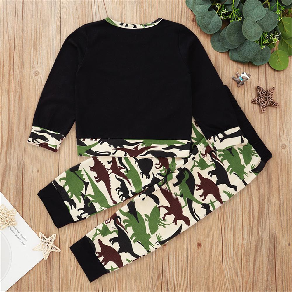 Boys Letter Dinosaur Printed Long Sleeve Top & Pants Wholesale Kids Apparel