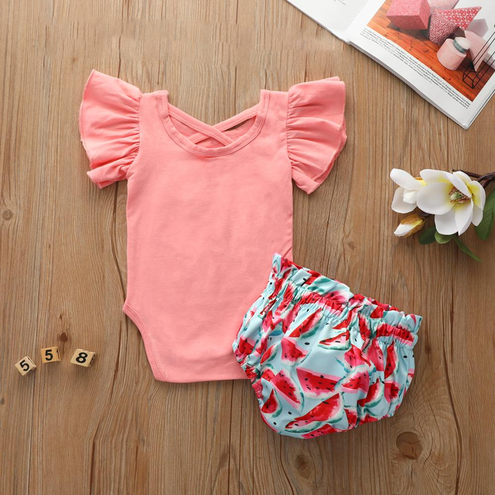 Baby Girls Letter Fruit Printed Short Sleeve Romper & Shorts Baby clothing Wholesale vendors - PrettyKid