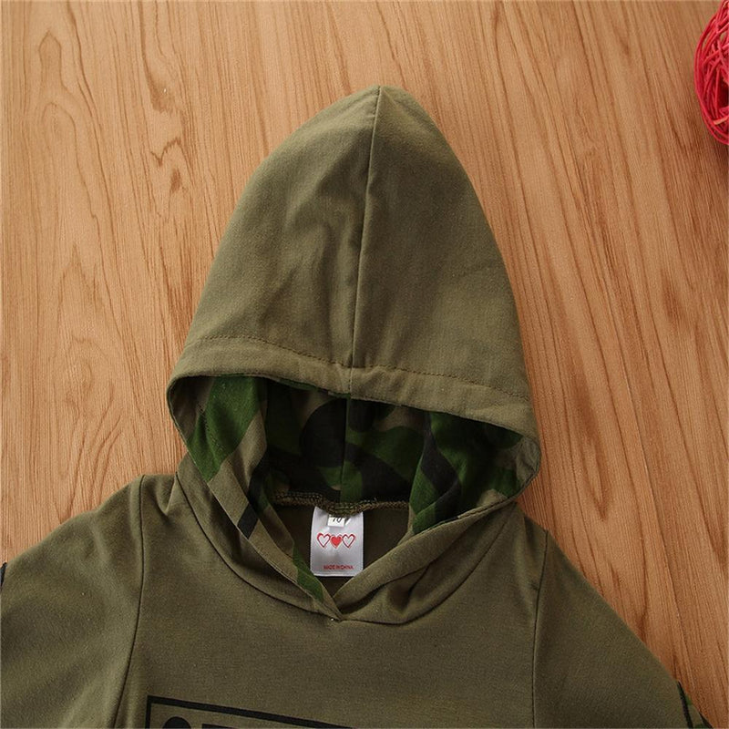 Baby Boy Letter Hooded Top & Camo Pants Baby Wholesale Clothing